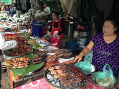Grilled meats at Luang Prabang's morning market