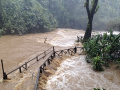 Walking paths are completely flooded during rainy season; Kuang Si Waterfall