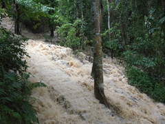 A gushing river down the mountain at Kuang Si