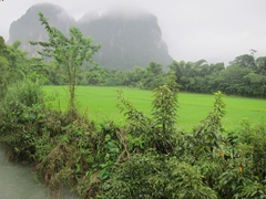 Rainy weather and fog obscure our view of the karst hill landscape that Vang Vieng is so famous for