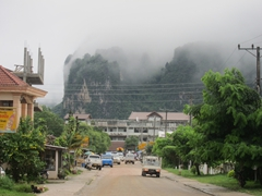 Shrouded in mist, the karst landscape is hidden from view the entire time we were in Vang Vieng!