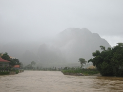 View of Vang Vieng during the wet season!