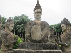 Buddhist and Hindu statues aplenty at Buddha Park, 24 km from Vientiane