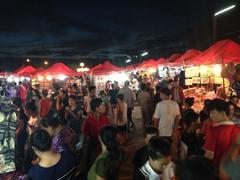 Bustling night market; Vientiane