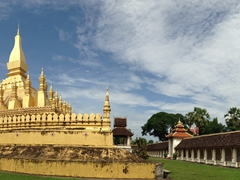 Panorama of the most important religious monument in Laos - Pha That Luang