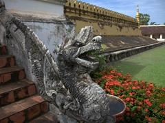 Dragon staircase detail; Pha That Luang