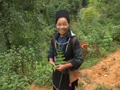 A happy Black Hmong lady accompanies us on our trek