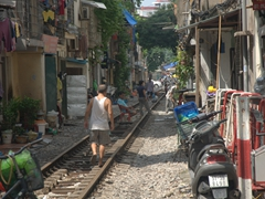 The locals have overtaken this old train track in Hanoi