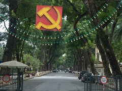 Hammer and sickle decor near the Presidential Palace in Hanoi