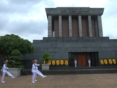 Changing of the guard at Ho Chi Minh's mausoleum; Hanoi