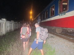 Annoyed at our 1 am wake up call to disembark the train due to flooding on the tracks!