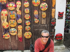 Robby with happy face masks; Temple of Literature