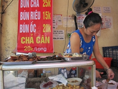 Stopping at this street vendor's shack for some bun cha