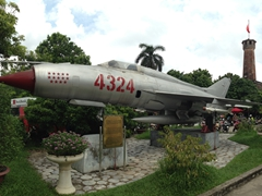 MIG 21 Russian fighter jet used to down 14 US aircraft between 1967 to 1969; Hanoi Military Museum