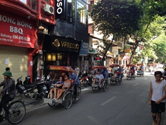 Rickshaw convoy in the old quarter of Hanoi