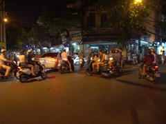4 way traffic navigating without traffic lights - the norm in Hanoi!