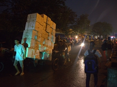 Transporting styrofoam boxes; Long Bien market
