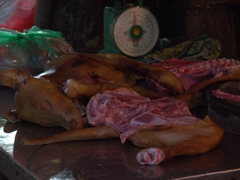 Dog carcasses for sale at Long Bien market - we hated seeing this at the market!