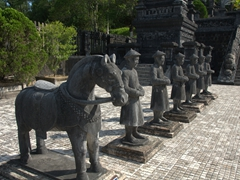 Stone statues representing bodyguards at the Khai Dinh Tomb; Hue