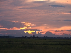 Magnificent sunset near the Japanese Covered Bridge; Hue