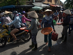Bustling scene; Hoi An market