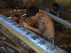 Wood carver at Kim Bong Carpentry Village