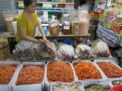 Dried shrimp and squid for sale at the night market in Hue
