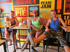 Tig, Denise and Robby stuffed after their burgers at Jim's Snack Bar; Hoi An
