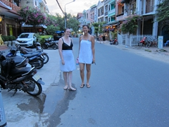 Gill and Becky walking the streets of Hoi An after a dip in a neighboring hotel's pool