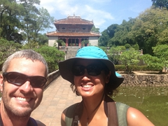 Posing at Minh Mang Tomb in Hue