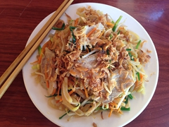 Enjoying Cao Lau for lunch, Hoi An's signature dish