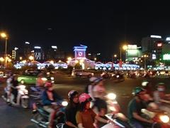 Night scene at Bến Thành Market; Saigon
