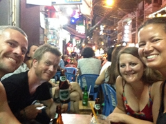 Enjoying street beer with Lars and Tig; Saigon