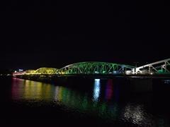 Artistic lighting at the Truong Tien bridge at night in Hue