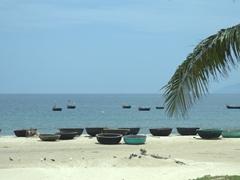 Woven basket boats on the Da Nang Beach