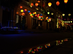 Lantern reflections after a brief rain; Hoi An