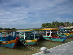 Colorful boats for rent; Hoi An
