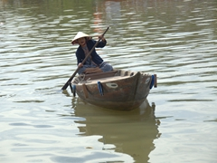 A lady offering us a boat ride on the Thu Bon River; Hoi An