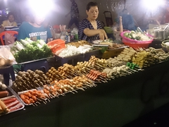 Mystery meat on a skewer; Phnom Penh night market