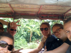 6 squeezed into 1 tuk tuk after ours had a flat tire!
