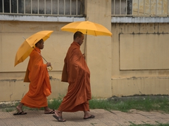 Monks strolling through Phnom Penh