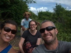 Riding the bamboo train with Gill - one of the most unique train rides in the world!