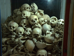 Skulls on display at the killing caves of Phnom Sampeau