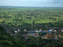 View of the countryside as seen from the top of Phnom Sampeau mountain