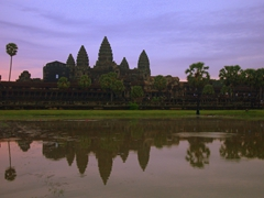 Morning sunrise at Angkor Wat with hundreds of fellow early birds