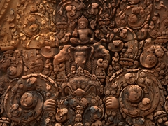 Intricate carvings at Banteay Srei (which means 'Citadel of the Women'). The locals believe this Hindu temple was built by women as the carvings are far too elaborate for men to have attempted!