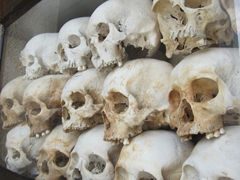 Just a few of the thousands of skulls on display at the Buddhist stupa at the Killing Fields of Choeung Ek
