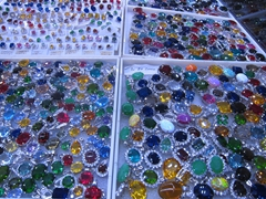 Sparkling gemstones for sale at the Central Market; Phnom Penh