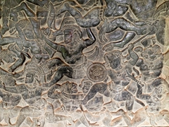 Battle scene bas relief; Angkor Wat