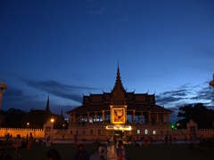 Night view of Throne Hall at the Royal Palace; Phnom Penh